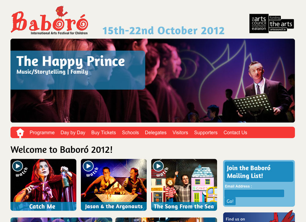 home page of baboro with the happy prince details