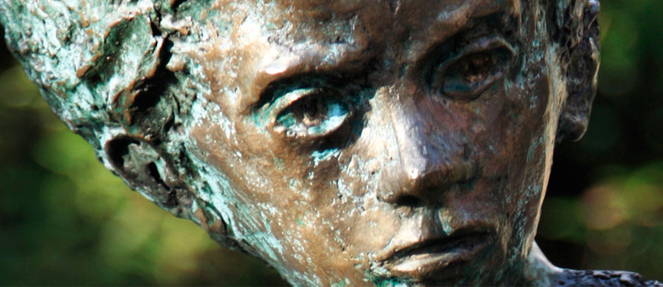 close up photo of the face of one of the sculpure
