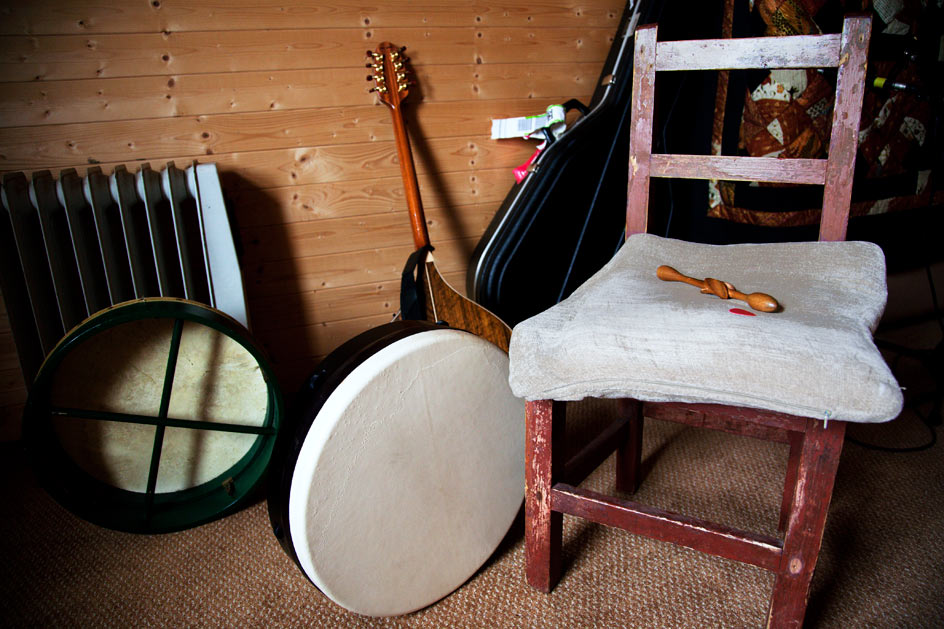photo of chair and musical instruments