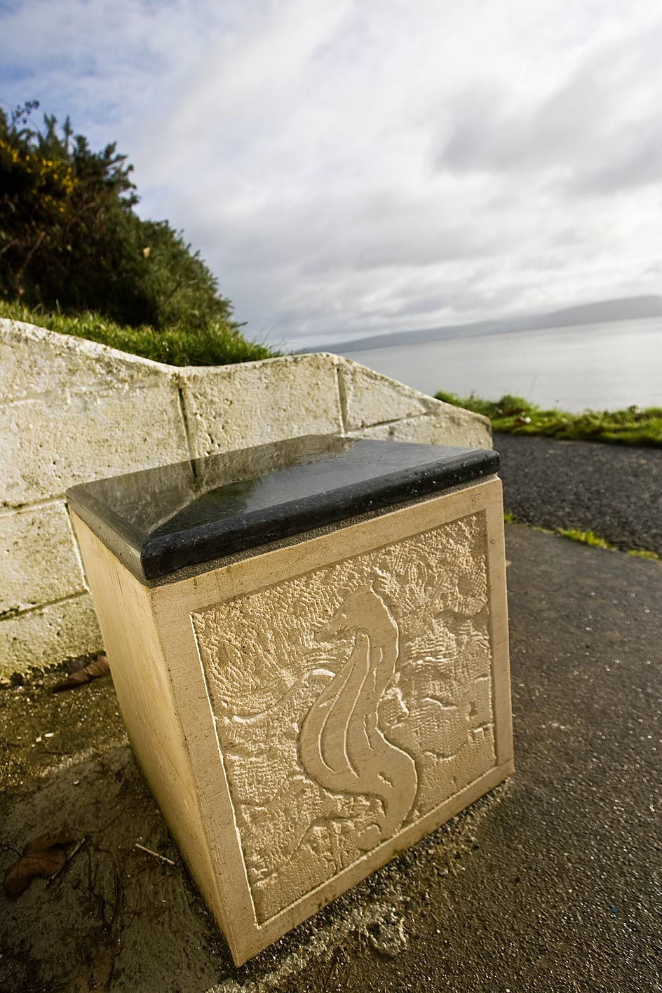 carving on the side of the Moville Benches