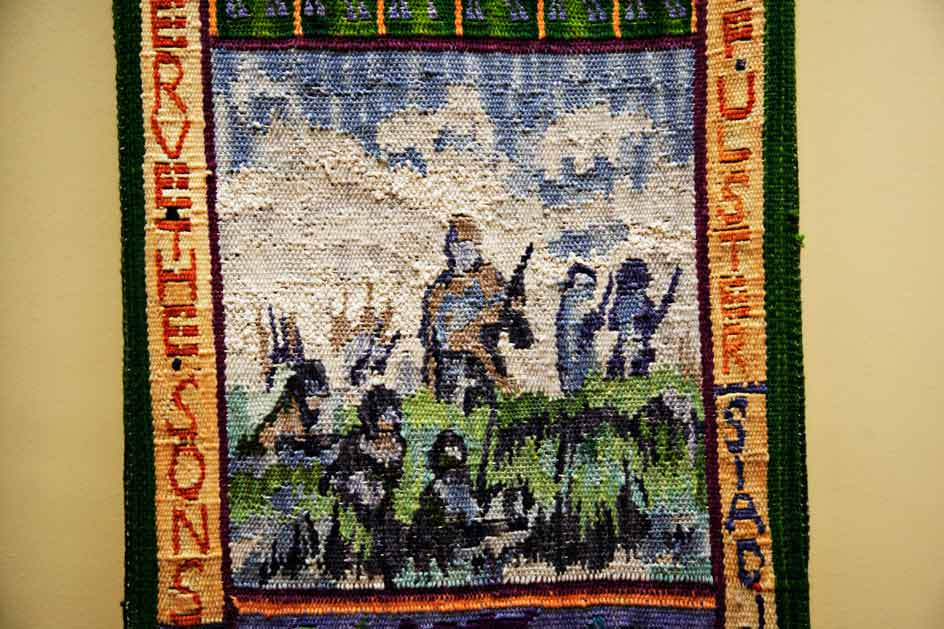 close up photo of woven tapestry